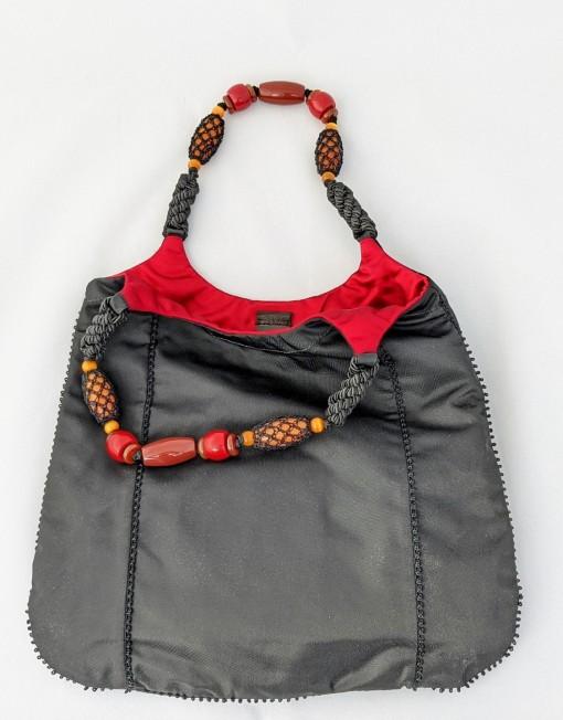 bag PRADA satin black stone