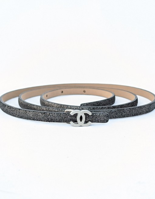 belt CHANEL dark grey logo