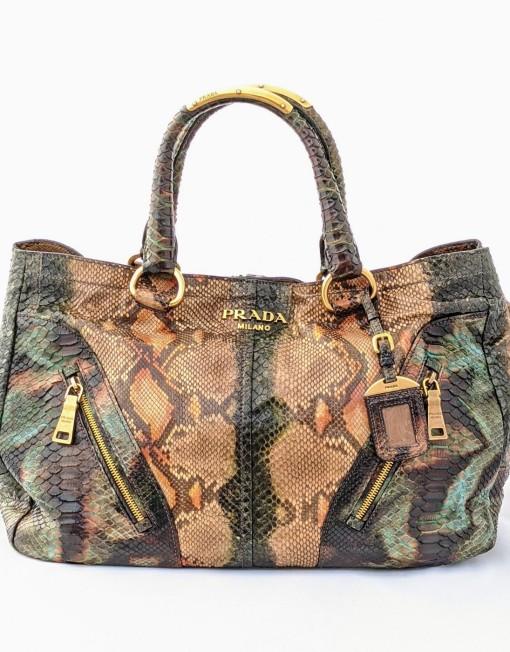 bag PRADA tote python green