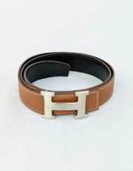 belt HERMES h brushed camel