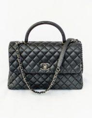 chanel large flap bag black caviar