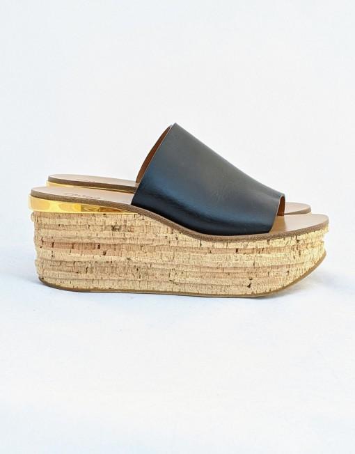 platform CHLOE cork black