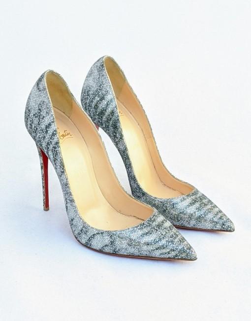 shoes LOUBOUTIN glitter silver