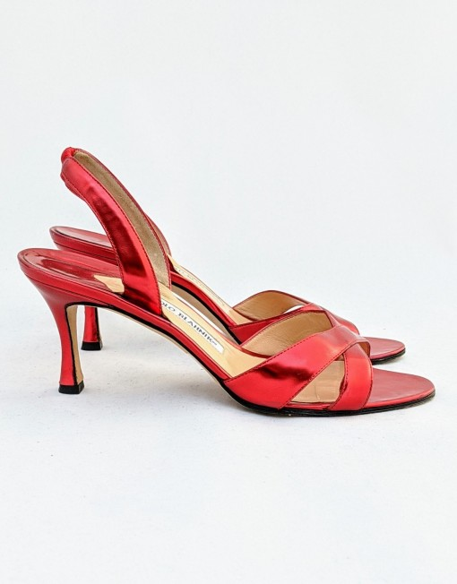 shoes MANOLO BLANHIK red silver