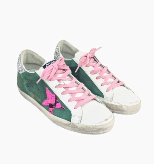 GOLDEN GOOSE pink green sneakers