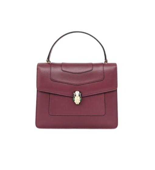 BVLGARI Serpenti forever burgundy leather bag