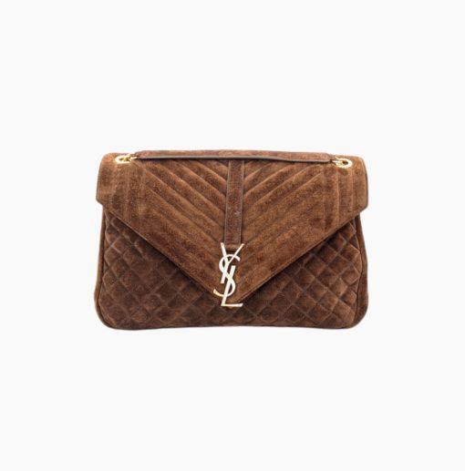 SAINT LAURENT Envelope brown suede bag