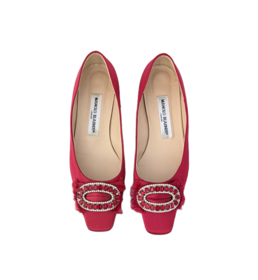 BLAHNIK red silk ballerinas