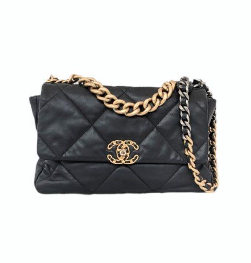 CHANEL 19 black calfskin large handbag