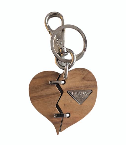 PRADA small wood Heart charm