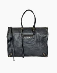 BALENCIAGA Papier black leather bag