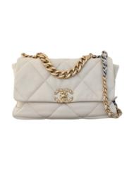 CHANEL 19 white calfskin large handbag